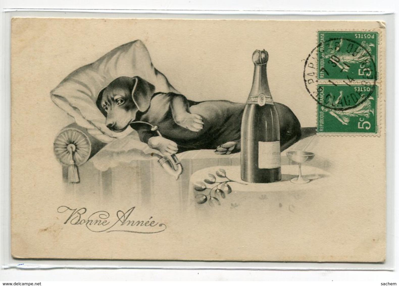 CHIENS Chien Humanisé   HHIW Nr 1101 TECKEL Au Lit Fumant Pipe Champagne Table Nuit Bonne Année 1914 Timb   D19 2019 - Hunde