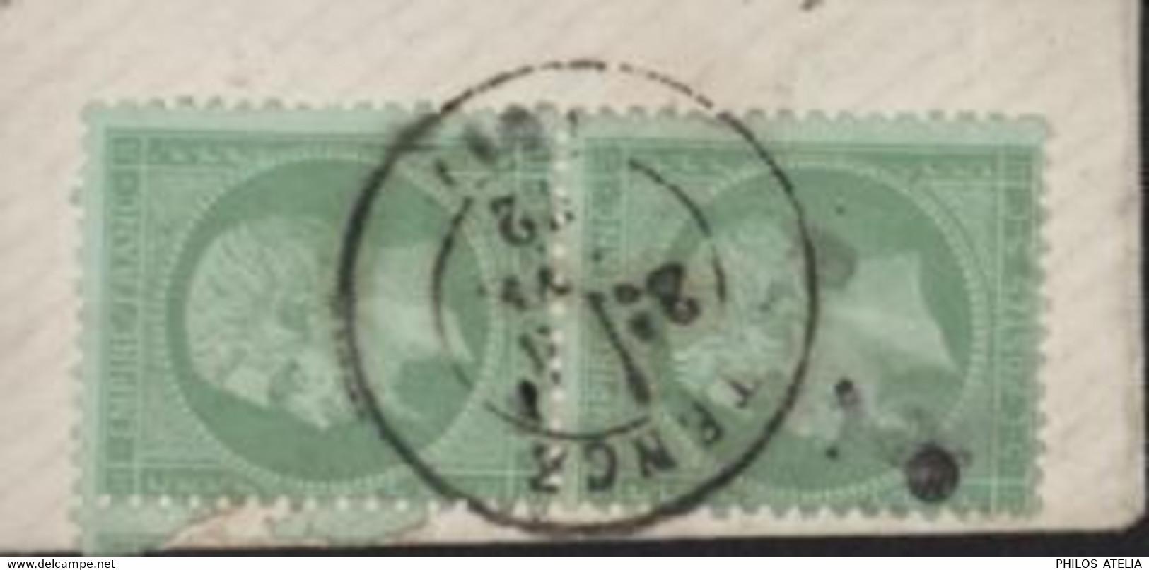 YT 35 X2 Paire Verticale 5ct Vert Pâle Empire Napoléon Enveloppe Pr Carte De Visite CAD T17 Tence 41  4 1 72 Signé TB 43 - 1862 Napoleon III