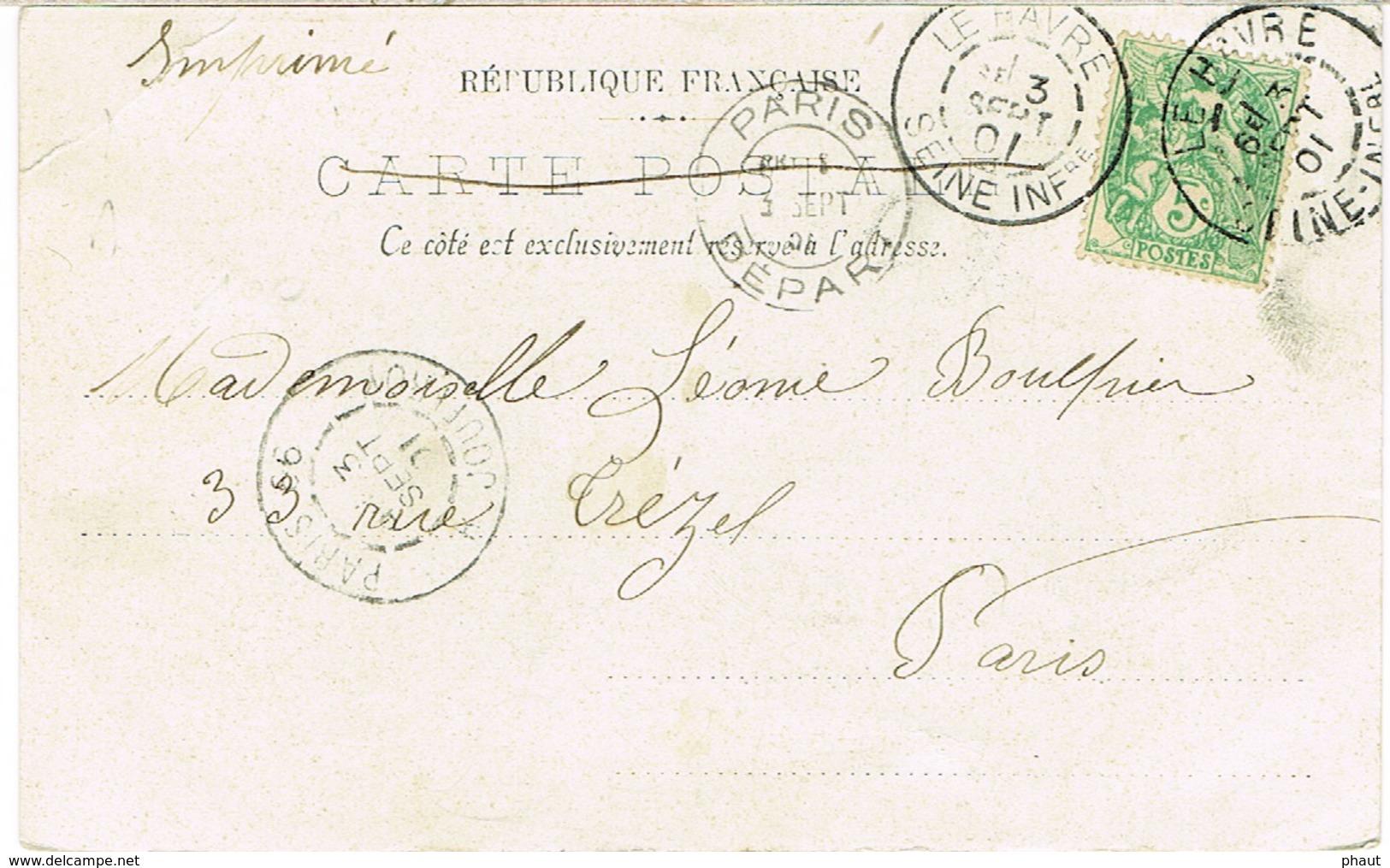 BICKERDICKE PARIS DEPART EN ARRIVEE SUR CPA DAGUIN LE HAVRE AU DEPART - Poststempel (Briefe)