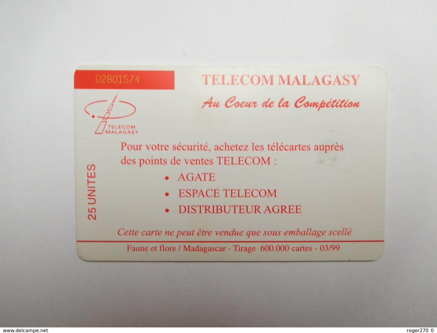 Télécarte Publique , Madagascar , Télécom Malagasay , Singe Lémurien - Madagascar