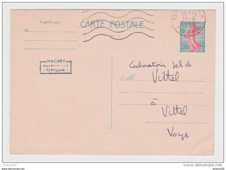 CP ENTIER POSTAL TYPE SEMEUSE (1960) PERPIGNAN 21 JUIN 1960 VERS VITTEL TAMPON MACARY PHARMACIEN - Entiers Postaux
