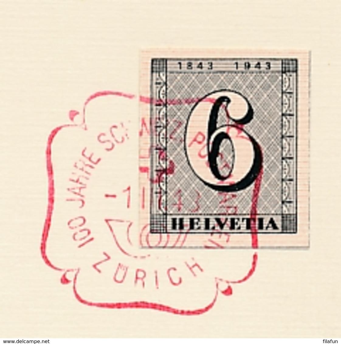 Schweiz - 1943 - 6c Stamp From Block Cancelled On Card - Briefe U. Dokumente