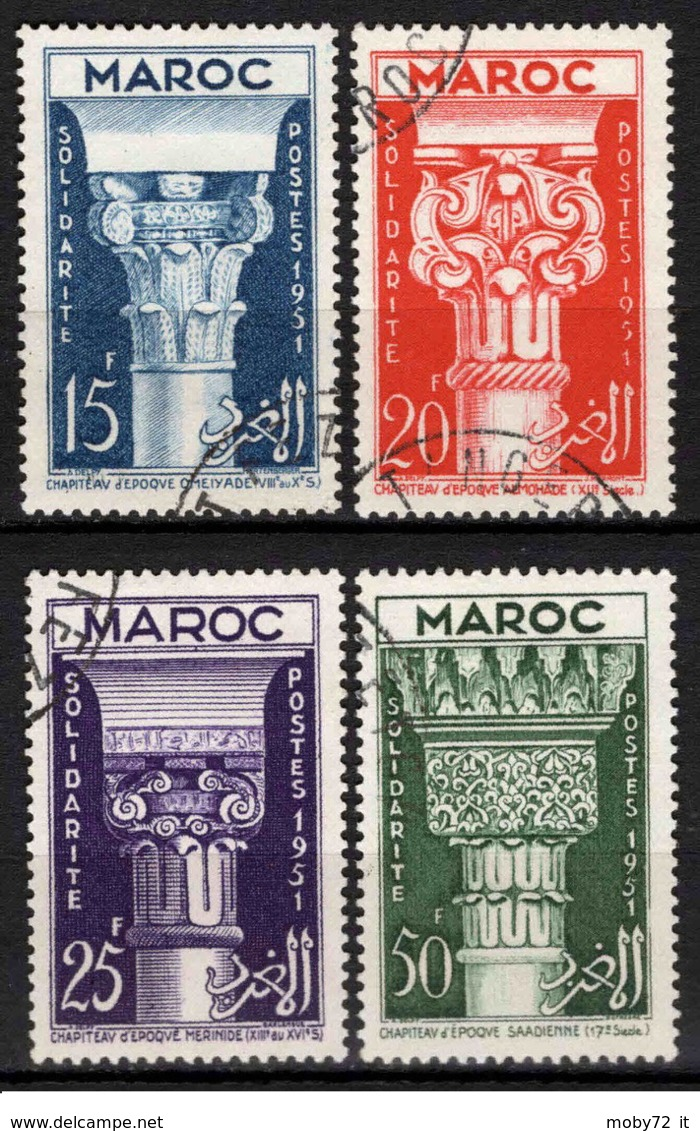 Marocco - 1952 - Usato/used - Solidarite - Mi N. 344/47 - Gebruikt