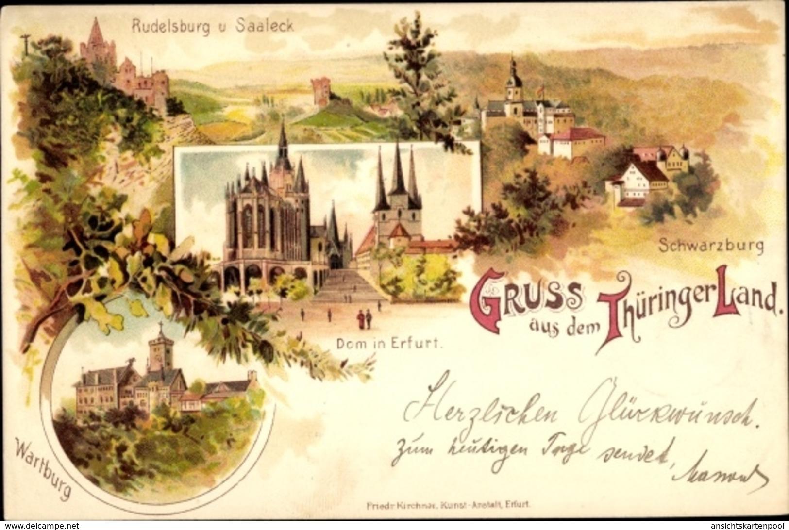 Lithographie Cp Erfurt In Thüringen, Dom In Erfurt, Wartburg, Rudelsburg V. Saaleck, Schwarzburg - Andere