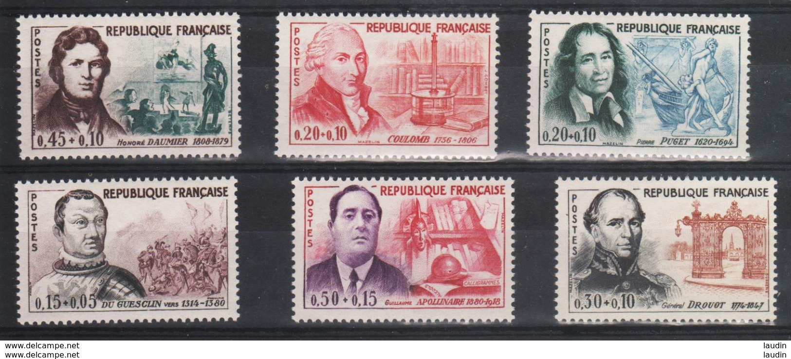 Serie Personnage Célèbres 1961 , 1295 à 1300 , Neuf ** Port Gratuit - France