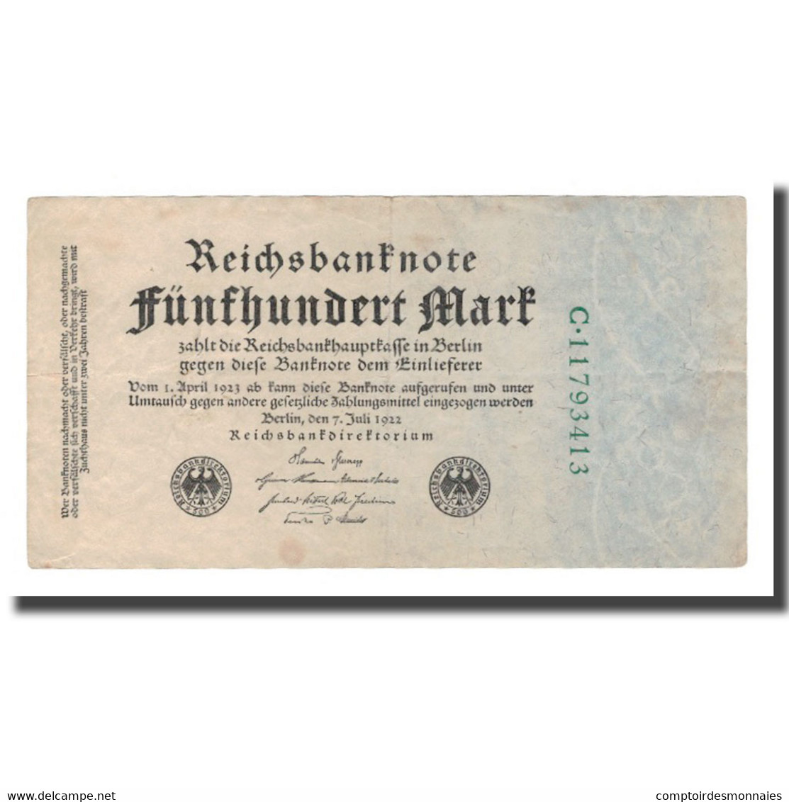 Billet, Allemagne, 500 Mark, 1922, 1922-07-07, KM:74c, TTB - 500 Mark