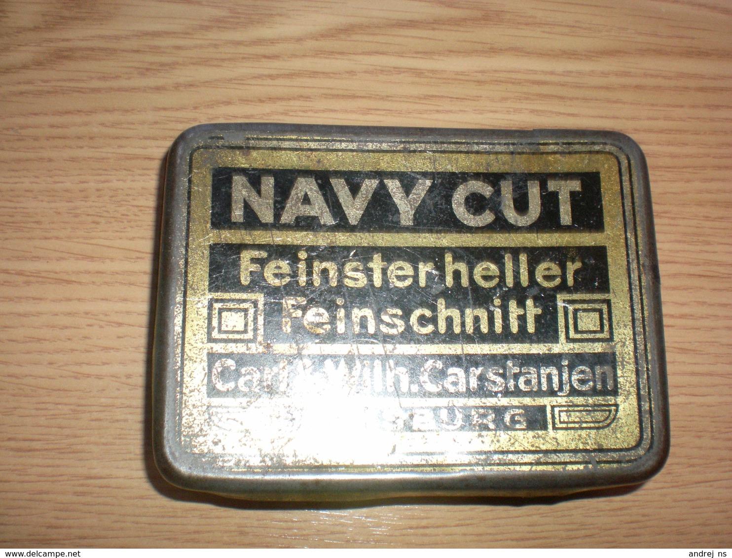 Old Tin Box Navy Cut Feinsterheller Feinschnitt Carl Wilh. Carstanjen Duisburg - Schnupftabakdosen (leer)