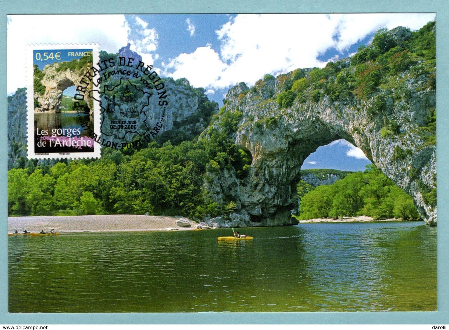 Carte Maximum 2006 - Portrait Des Régions - Les Gorges De L'Ardèche - YT 3948 - 07 Vallon Pont D'Arc - 2000-09