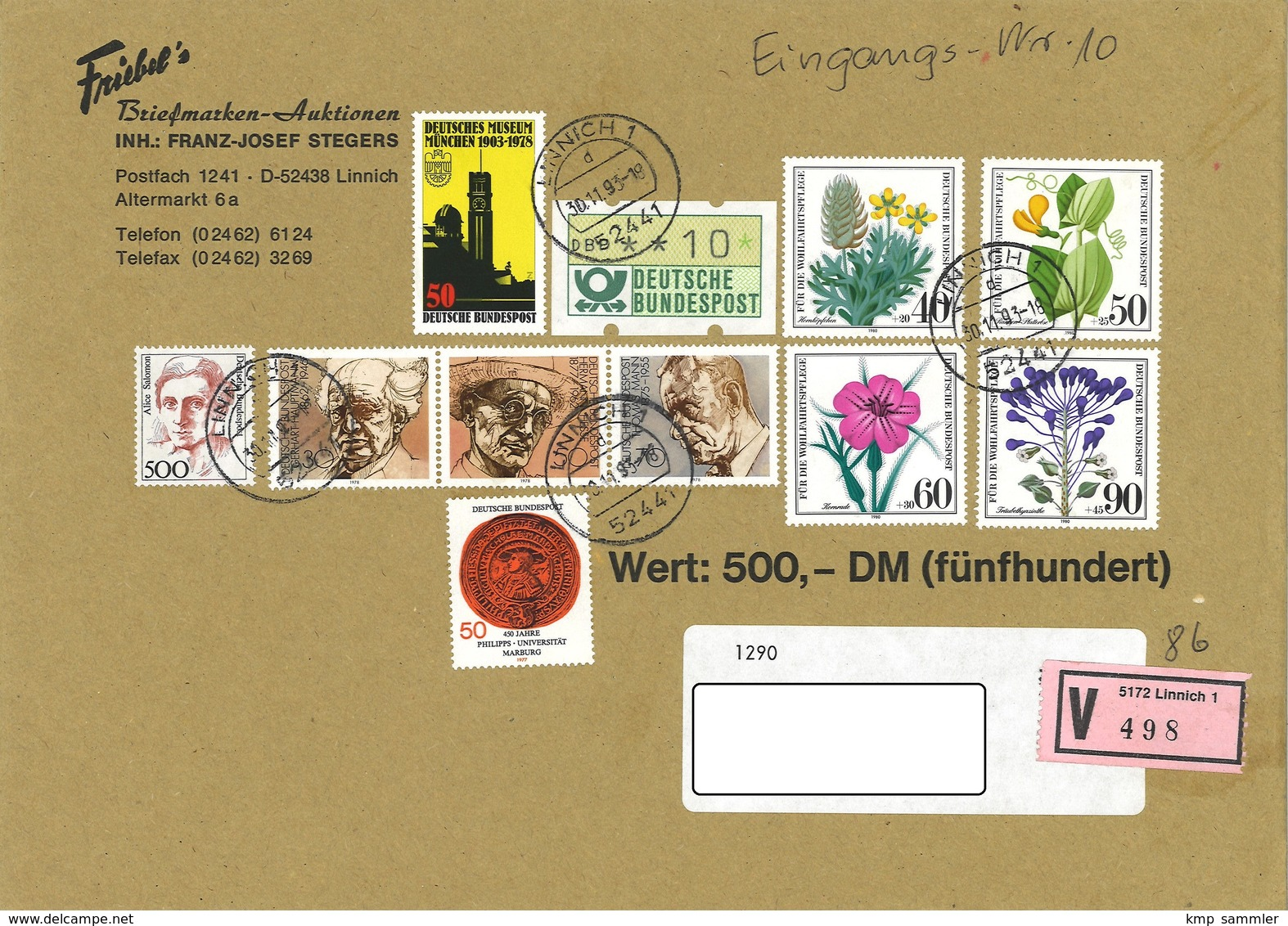 Bund Wertbrief Vom 30.11.1993 Linnich Nach Halberstadt - Storia Postale