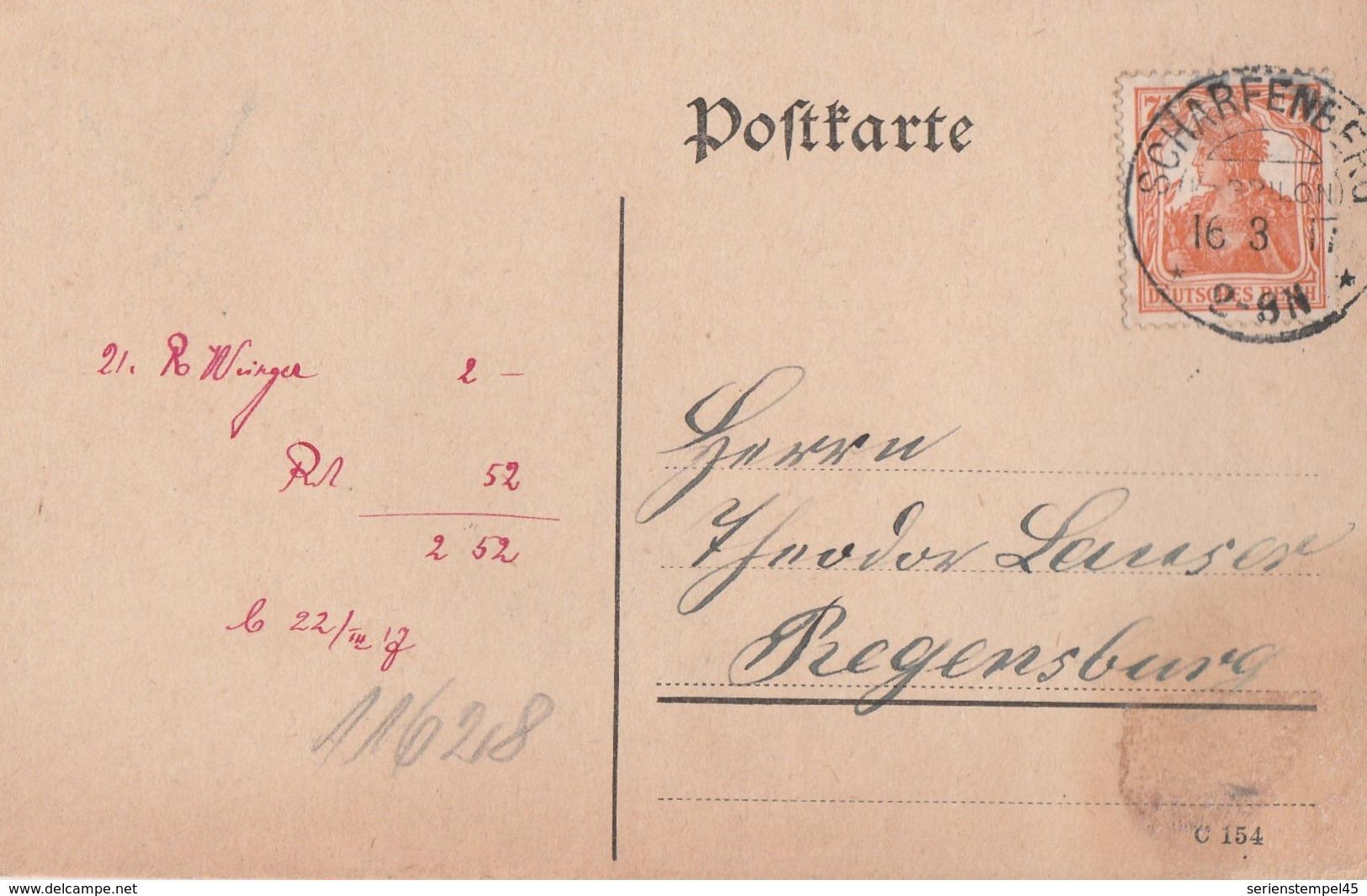 Deutsches Reich Karte Mit Tagesstempel Scharfenberg Kr Brilon 1917 KOS Stempel - Germany