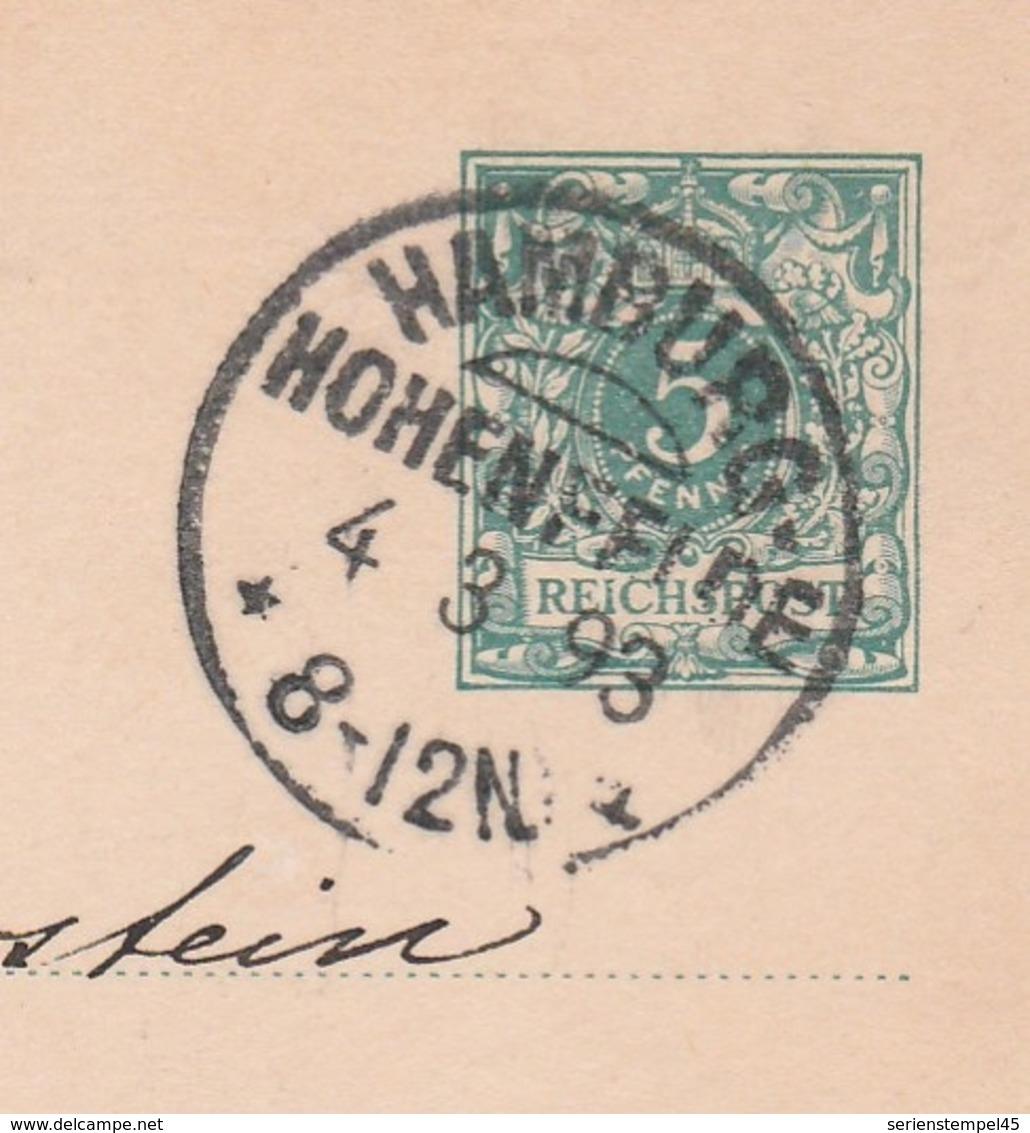 Deutsches Reich Karte Mit Tagesstempel Hamburg Hohenfelde 1893 KOS Stempel - Germany