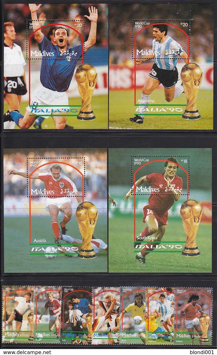 Soccer World Cup 1990 - MALDIVES - 4 S/S+Set 7v MNH - Copa Mundial