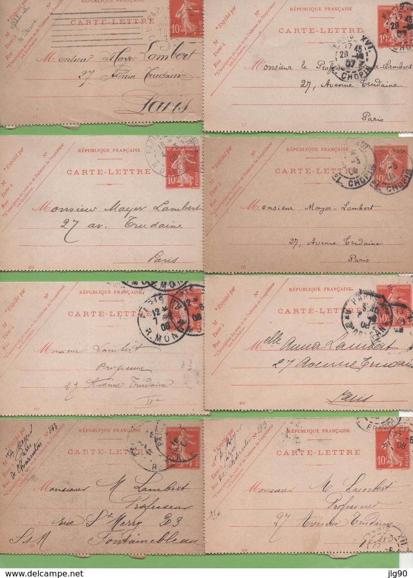 8  Entier Semeuse Camée 10c Rouge Type 138 CL1  Paris 1907-11 - Postal Stamped Stationery