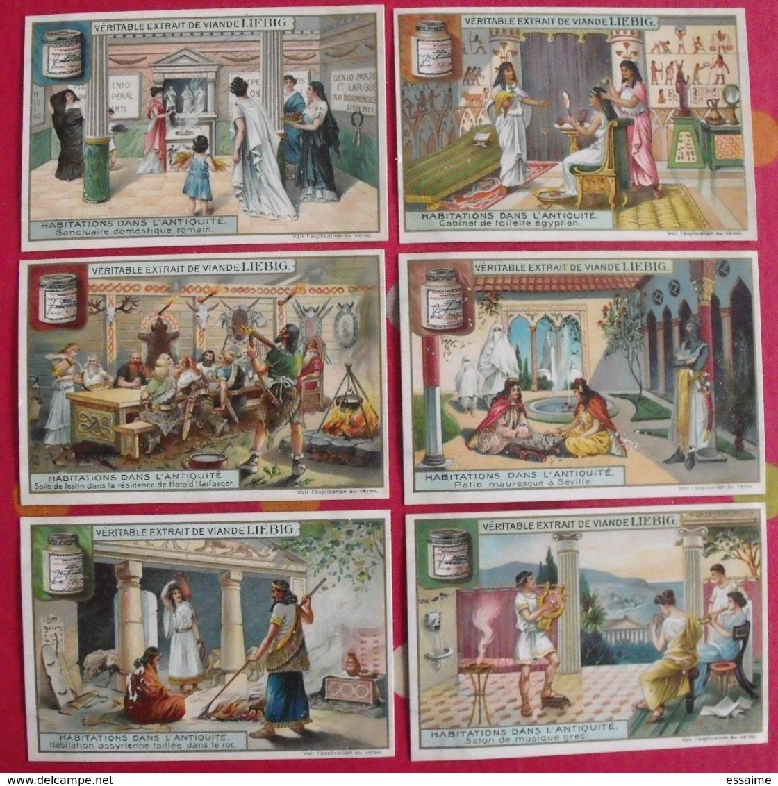 6 Chromo Liebig. Habitations Dans L'antiquité. 1907. S 875. Chromos. édition Française - Liebig