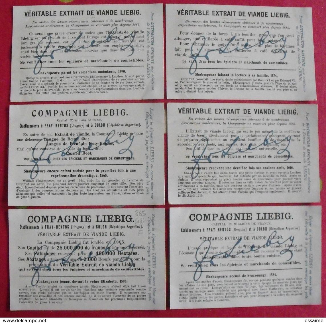 6 Chromo Liebig. La Vie De Shakespeare. 1906. S 865. Chromos. édition Française - Liebig