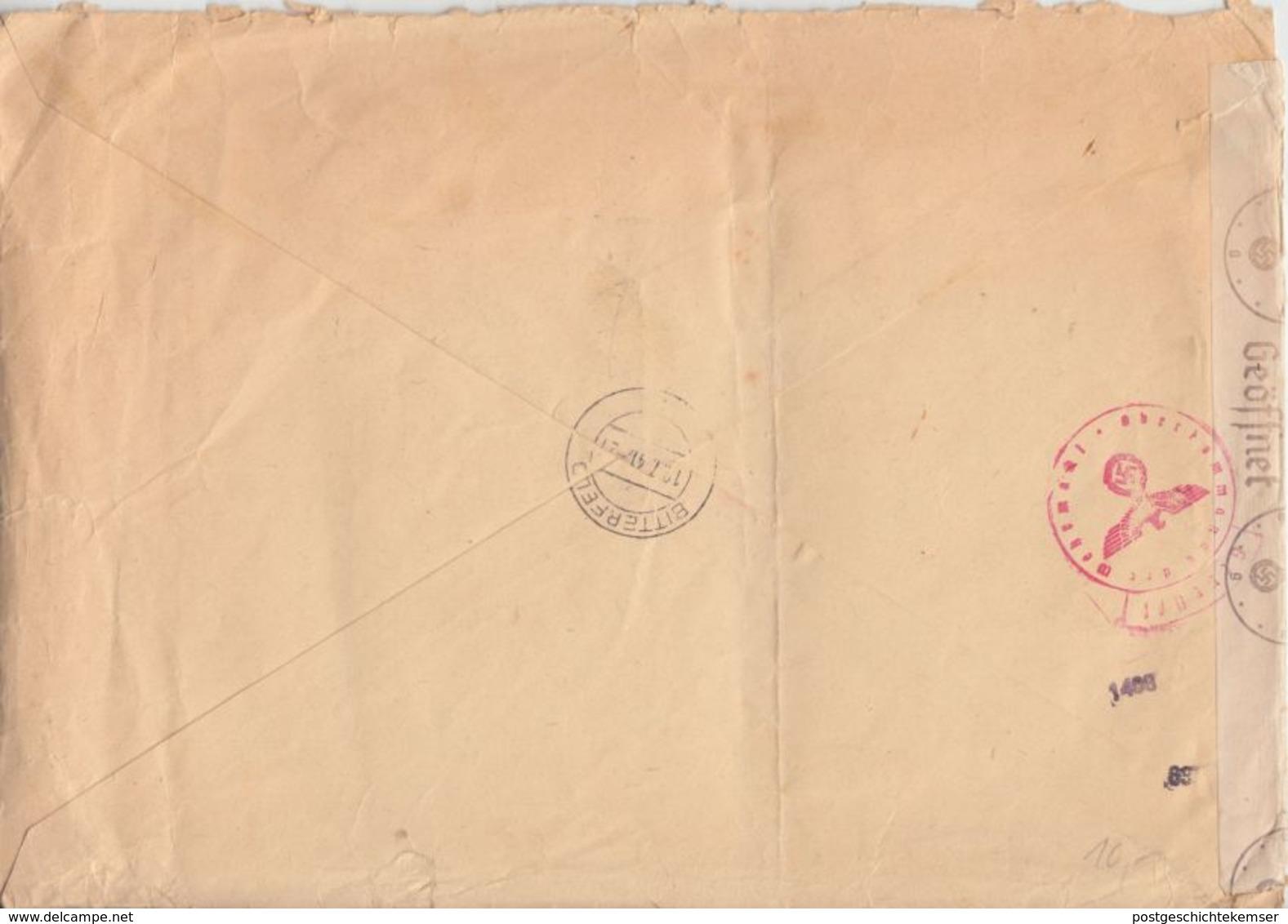 Kroatien - 3x4 D.+50 P. Überdruck Einschreibebrief Zagreb Bitterfeld 1941 Zensur - Croazia