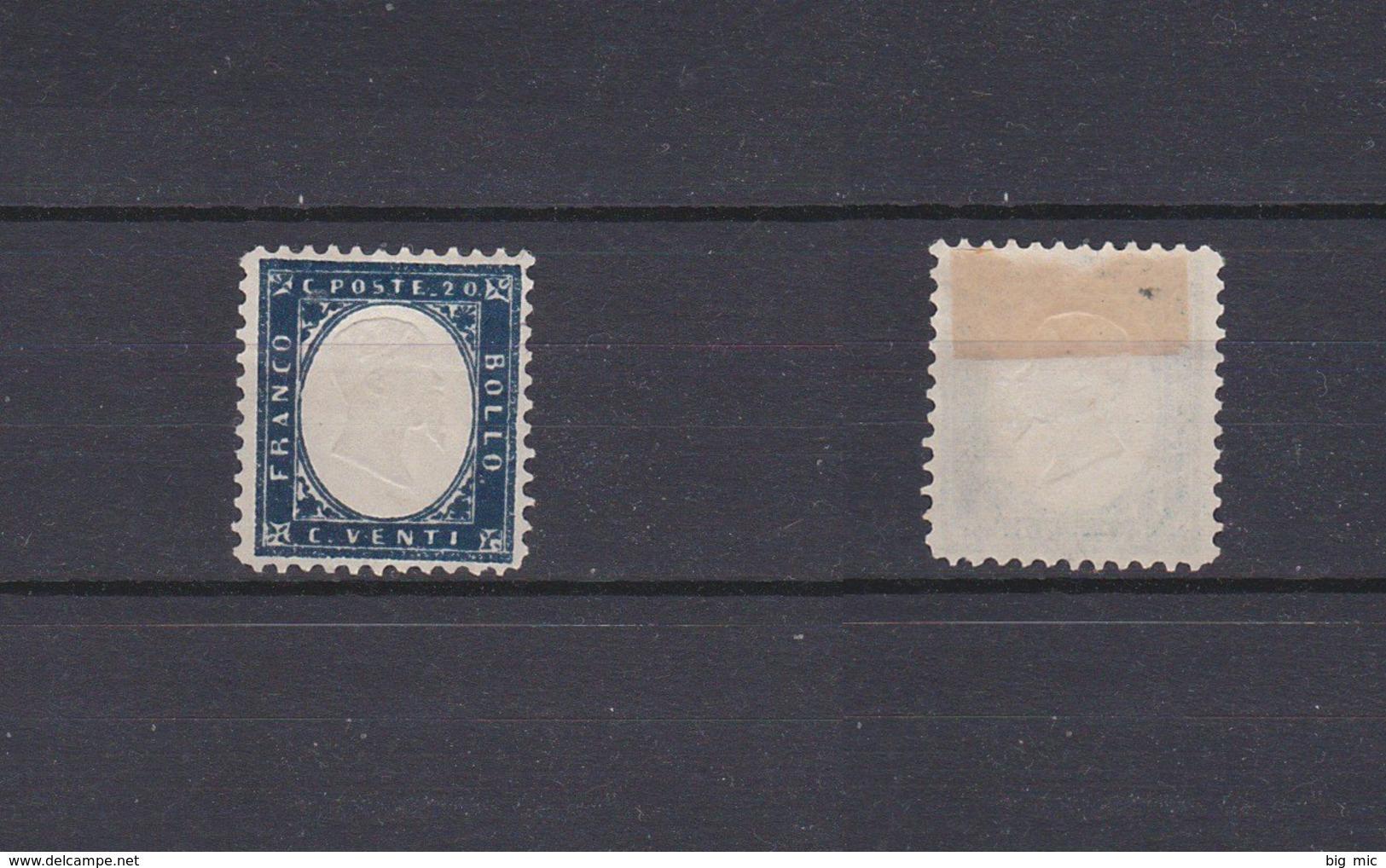 ITALY 1862 V.Emmanuel II Head Embossed 20c. Dark Blue Mint (*)  Sc.19 (Sa.2) - 1861-78 Victor Emmanuel II.