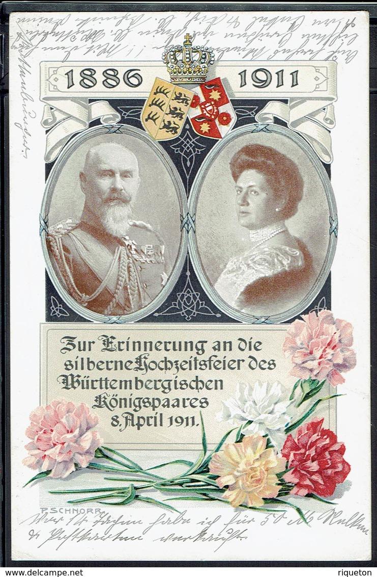 Allemagne - 1911 - Offizielle Postkarte Des Blumentages - Commémoration Des Noces D'Argent Du Couple Royal Du Wurtemberg - Germany
