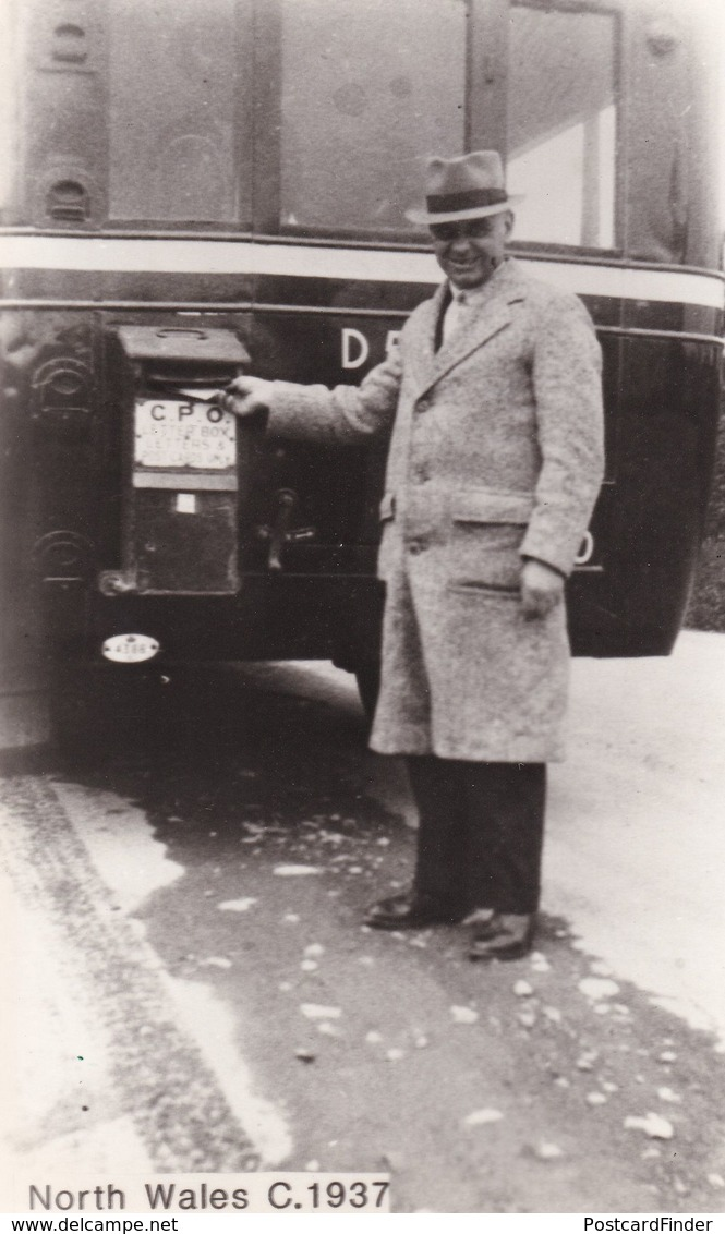 Welsh Pillar Box Attached To Coach Bus Wales Real Photo Postcard - Post
