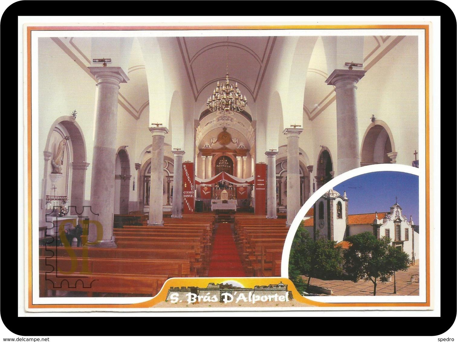 Postal Igreja Matriz São Brás De Alportel Portugal Algarve Church Eglise Neoclassic - Iglesias Y Catedrales