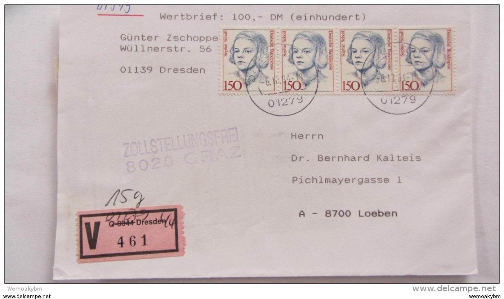 BRD-VGO: Wert-Bf Aus Dresden 44 (461) Mit Nachverwendeten V-Zettel -sehr Späte Verwendung Am 6.10.94- Knr: 1497 (4) - Covers & Documents
