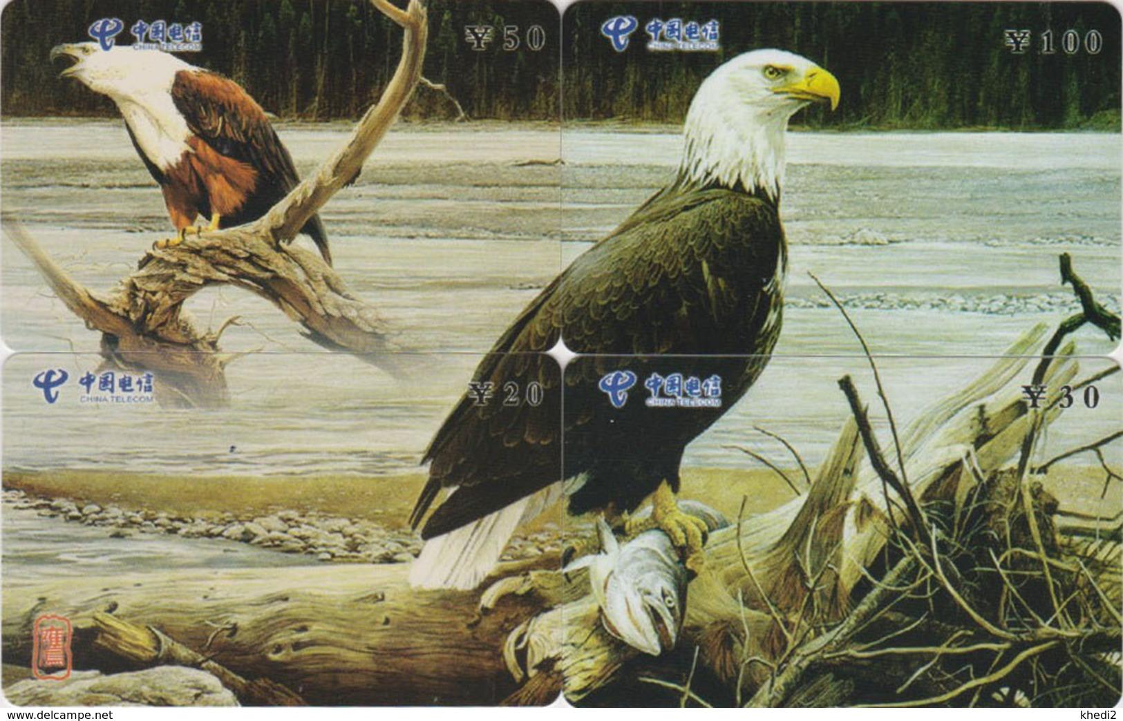 PUZZLE De 4 TC Chine - ANIMAL - OISEAU Rapace - AIGLE - AFRICAN FISH EAGLE BIRD Phonecards Telefonkarten - 4505 - Puzzles