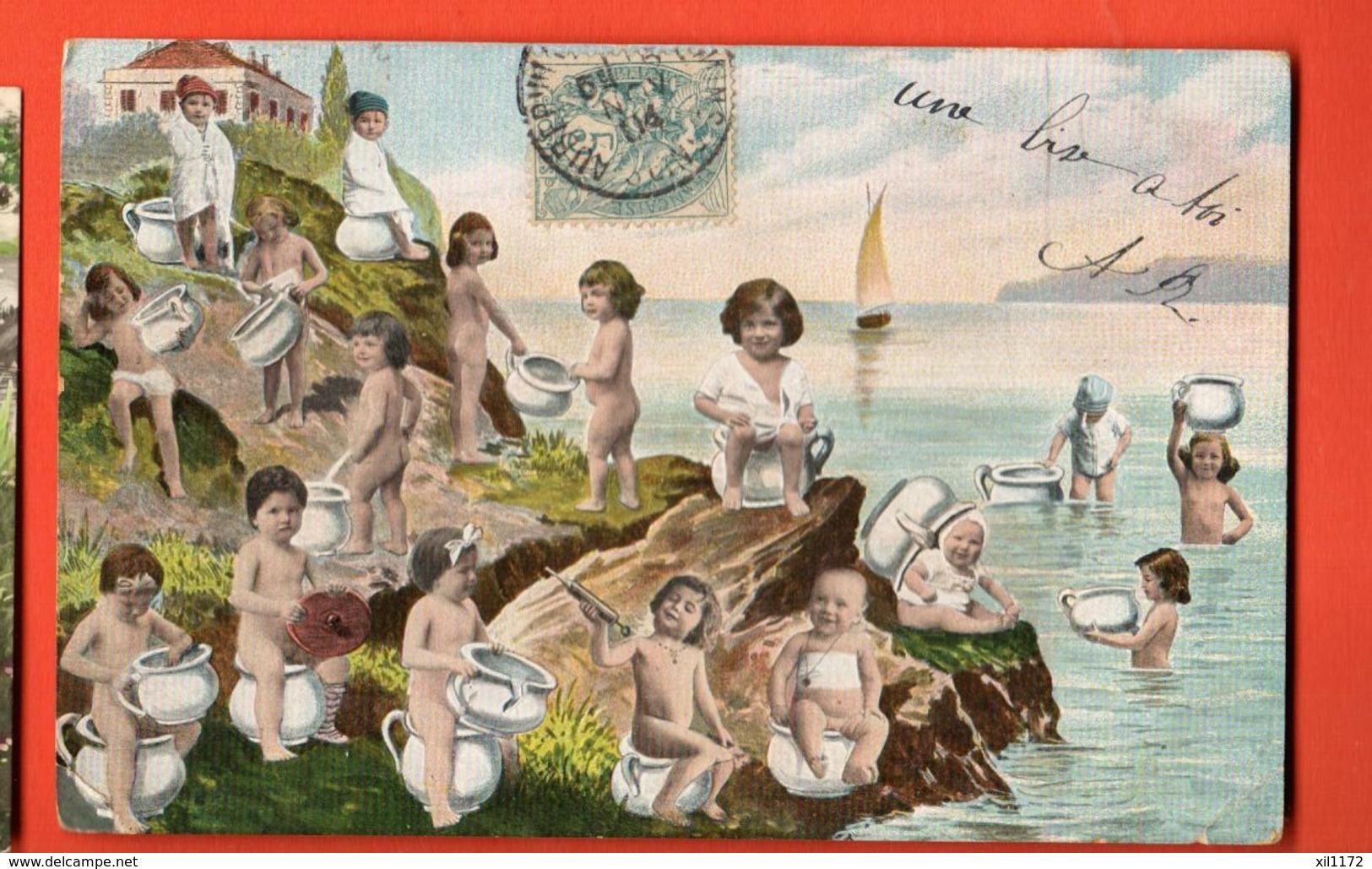 KAJ-41 Carte De Bébés Avec Leurs Pots.  Dos Simple, Circulé 1904 - Neonati