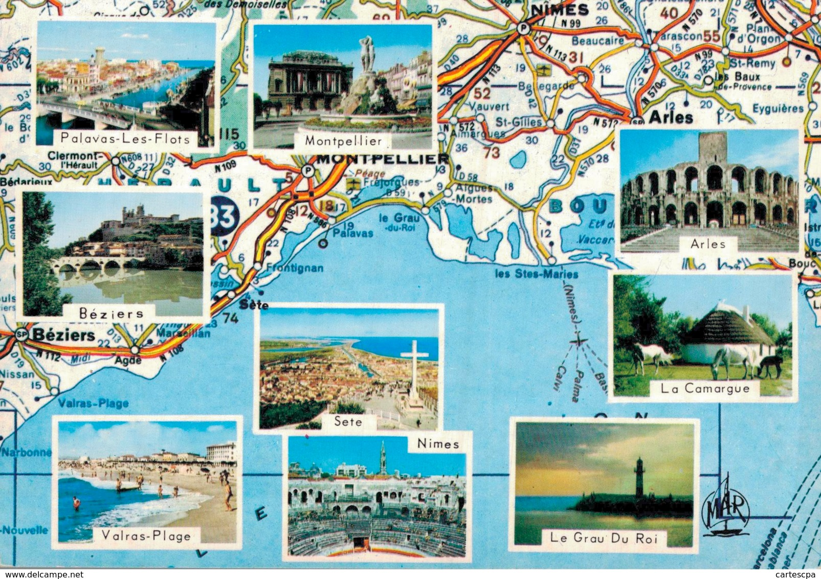 Herault Circuit Touristique Carte Geographique D'apres Carte Michelin N° 999  CPM Ou CPSM - France
