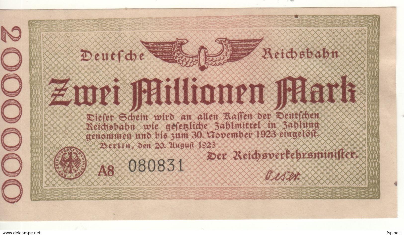 GERMANY  2 Millionen Mark   Deutche Reichbahn  Dated  20.8.1923 - [ 3] 1918-1933 : Repubblica  Di Weimar