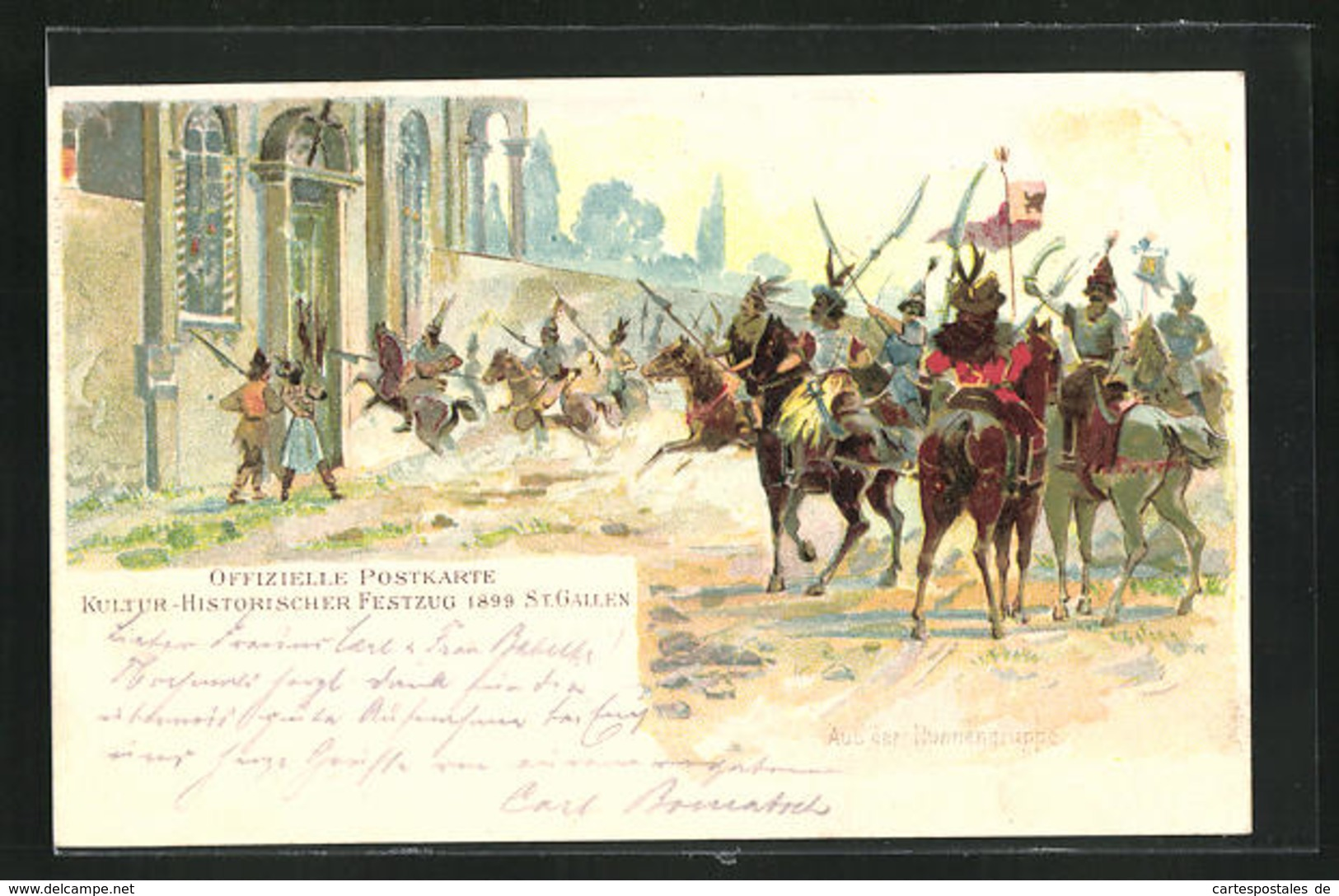 Lithographie St. Gallen, Kulturhistorischer Festumzug 1899 - SG St. Gall