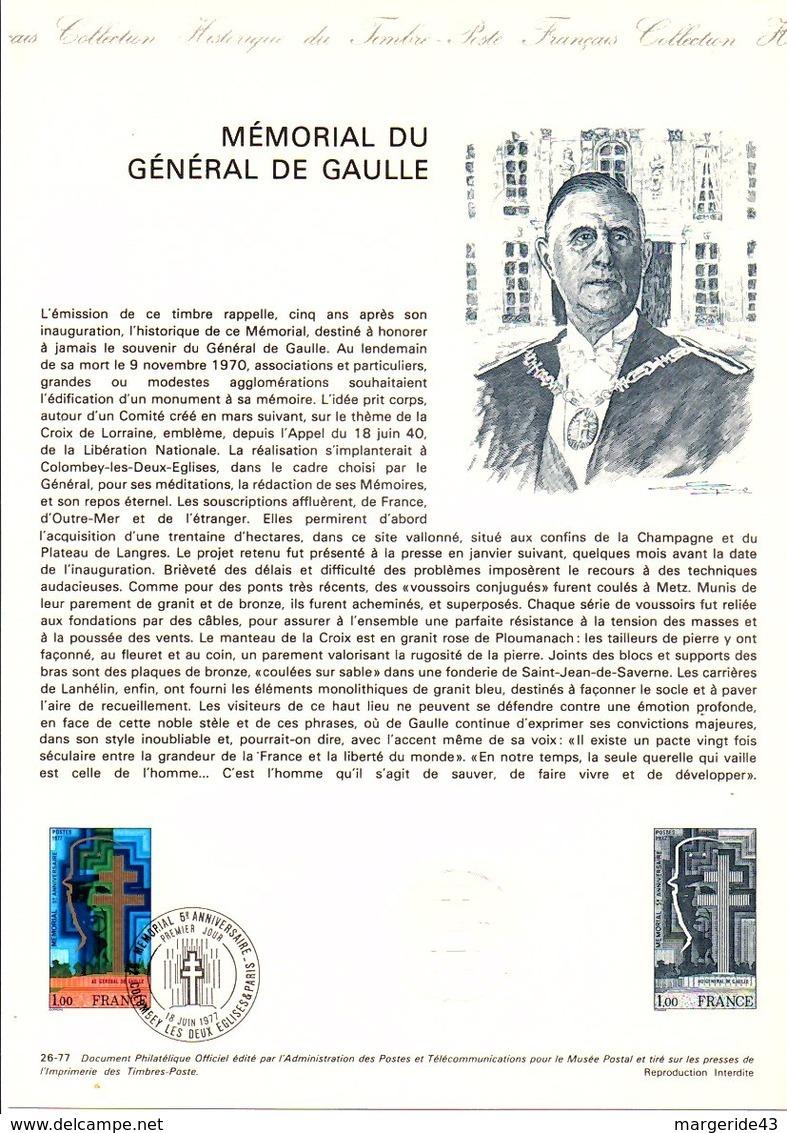 DOCUMENT FDC 1977 MEMORIAL CHARLES DE GAULLE - Documenten Van De Post