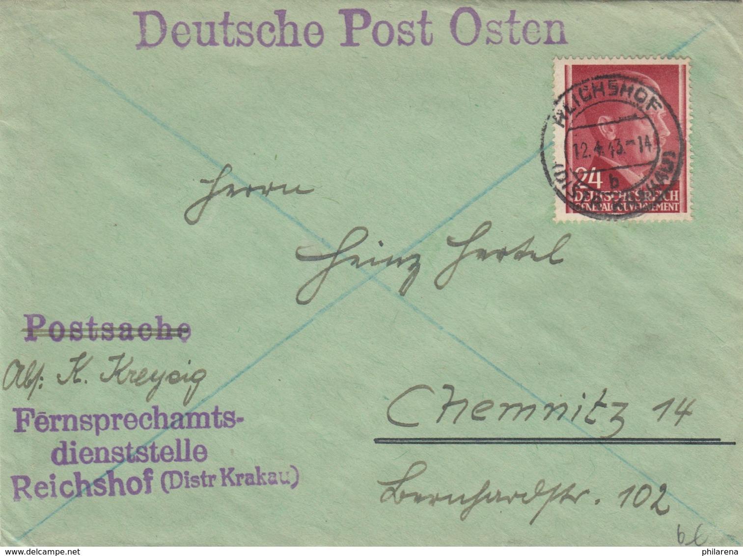 GG: Fernsprechamtsdienststelle Reichshof Nach Chemnitz - Occupation 1938-45