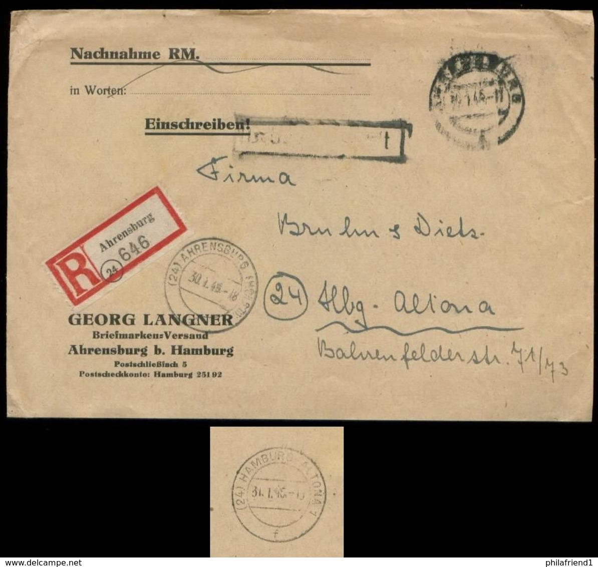 P0806 - DR R - Briefumschlag Mit PLZ 24 R - Zettel Und Stempel: Gebraucht 24 Ahrensburg - 24 Altona 30.1.1945 , Bedarf - Alemania