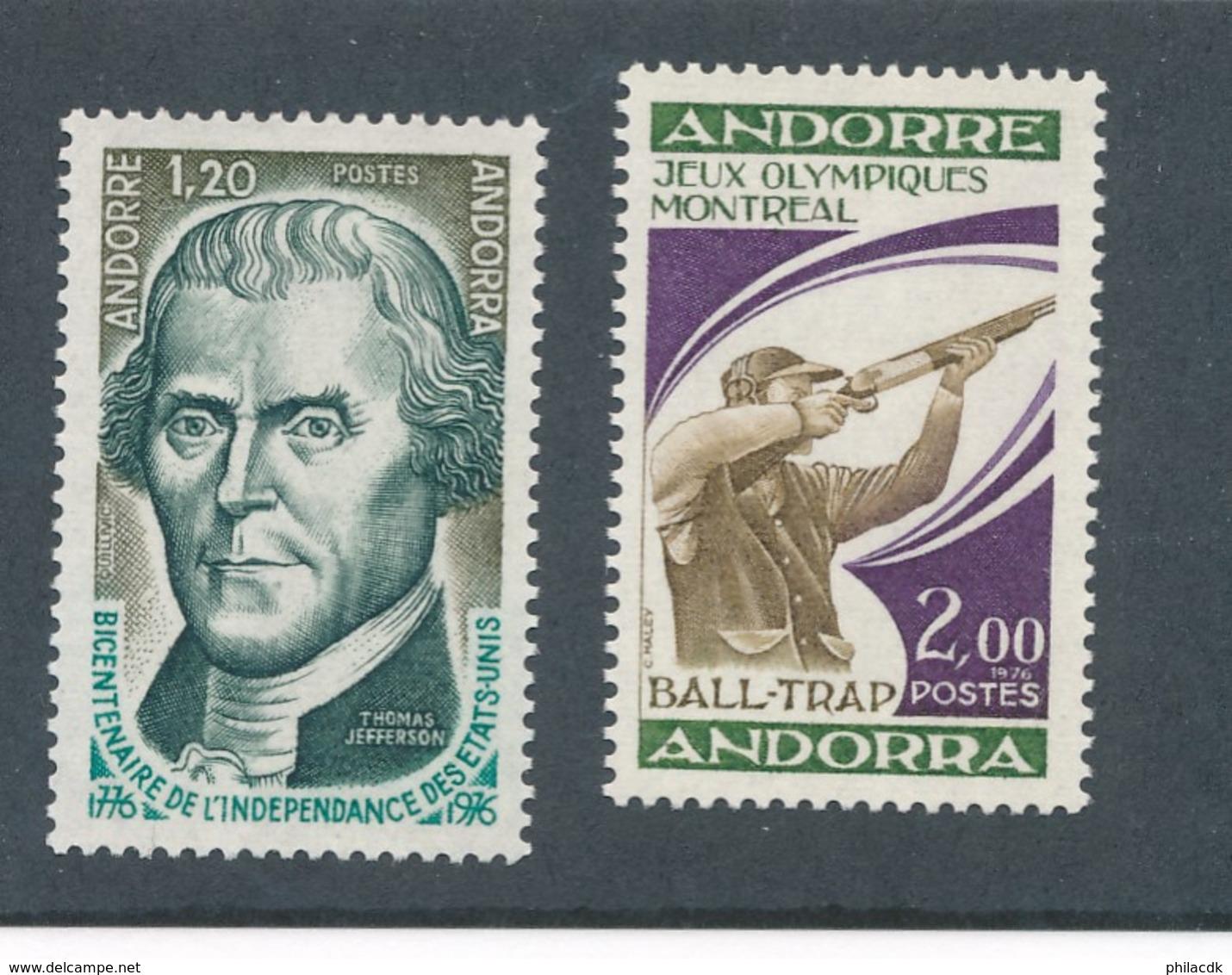 ANDORRE FRANCAIS - N° 255/56 NEUFS* AVEC CHARNIERE - 1976 - French Andorra
