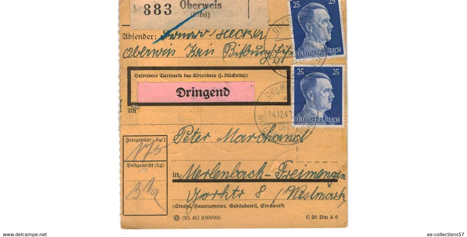 ALLEMAGNE  /  COLIS-POSTAL / De Oberweis  / 14-12-43 - Germany