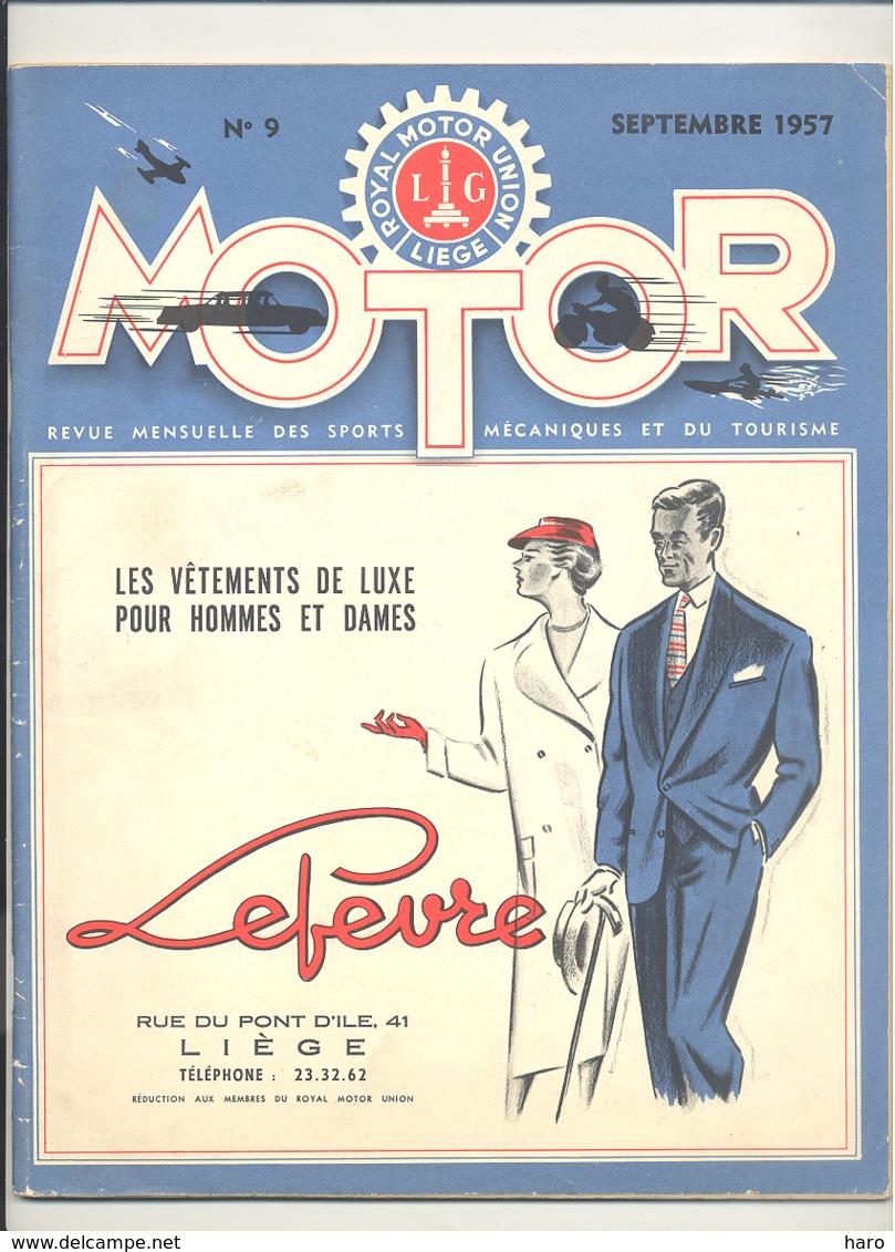 "Revue "" MOTOR "" Du Royal Motor Union Liège N°9 De 1957 - Auto, Moto, Oldtimer  (b271) - Auto/Moto"