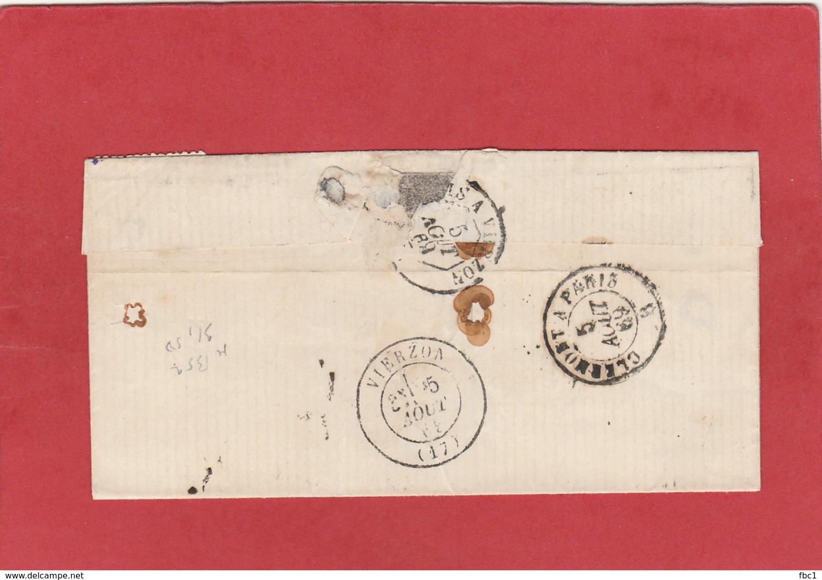 Nièvre - Donzy - GC 1328 Sur N°29 - 1869 - Marcophilie (Lettres)