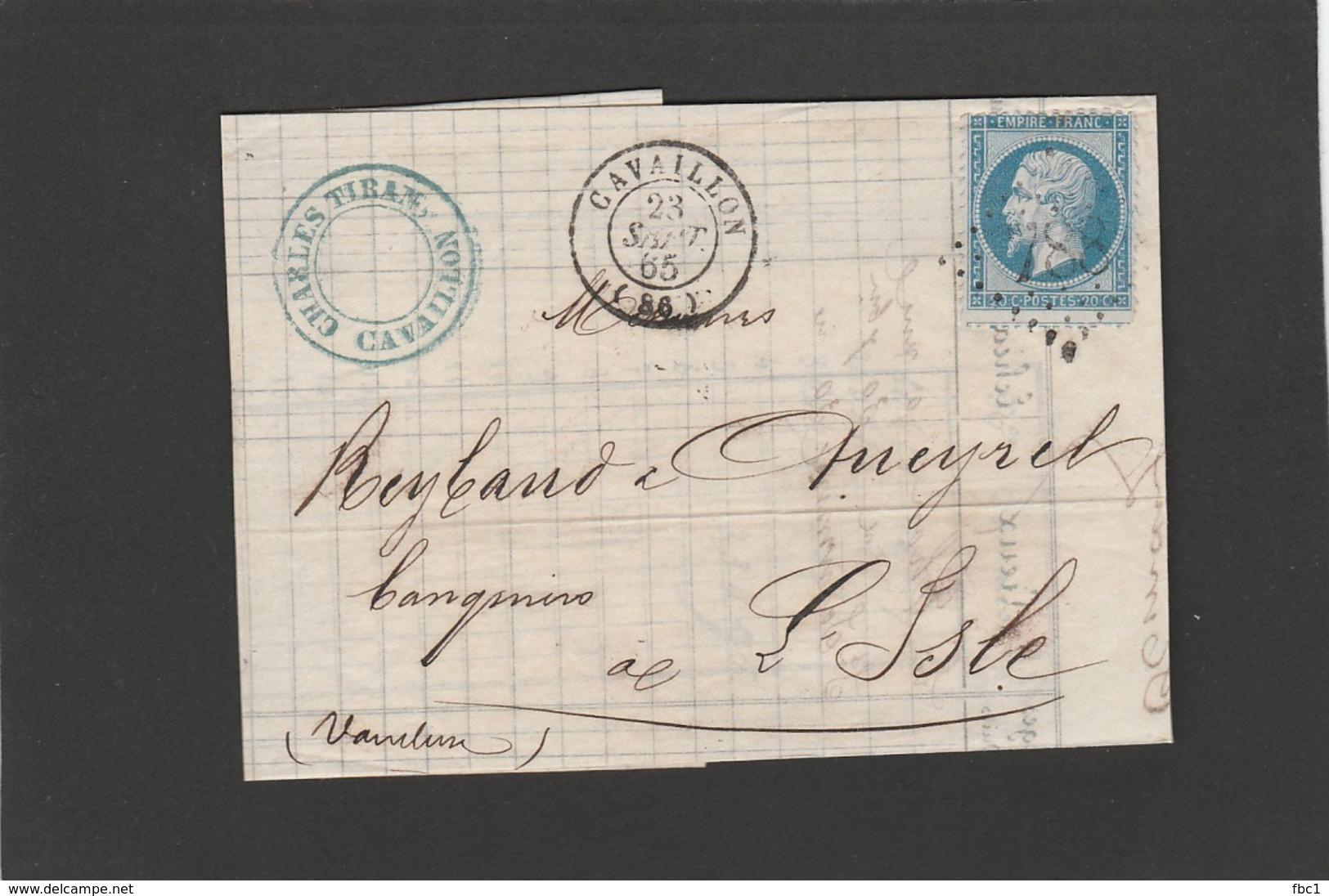 Vaucluse - Cavaillon - GC 788 Sur N°22 - LAC De Charles Tiran Banquier 1865 - Marcophilie (Lettres)