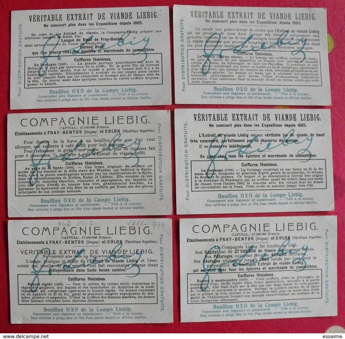 6 Chromo Liebig. Coiffures Féminines. 1909. S 948. Chromos. édition Française - Liebig