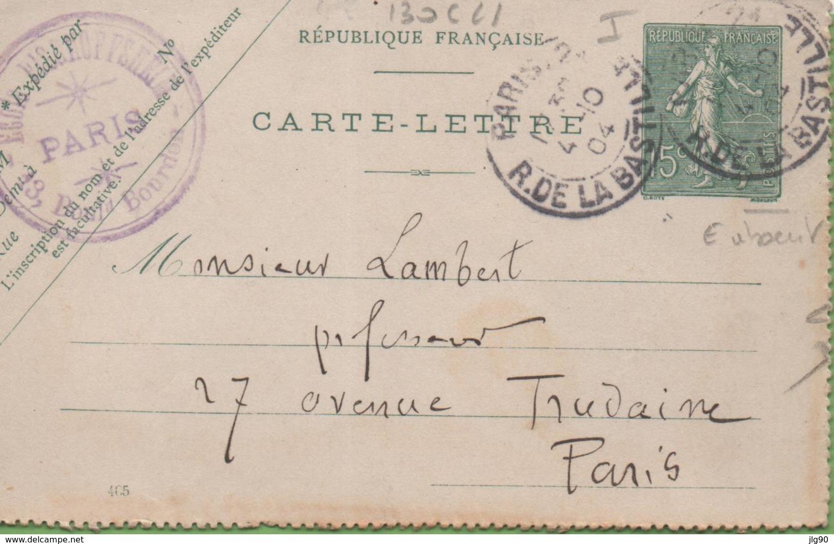 Entier Type SEMEUSE Lignée 10c 130-CL1 Date 405 PARIS-2 à PARIS 4/10/04 - Entiers Postaux