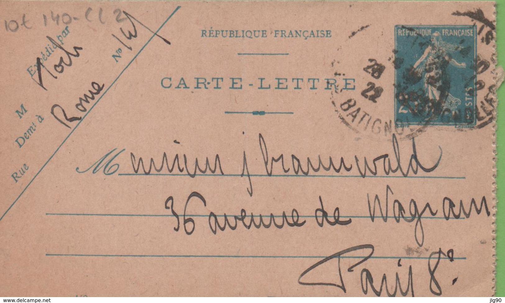 Entier Type SEMEUSE Camée 25c Bleu 140-CL2 Date 149 PARIS 1922 - Postal Stamped Stationery