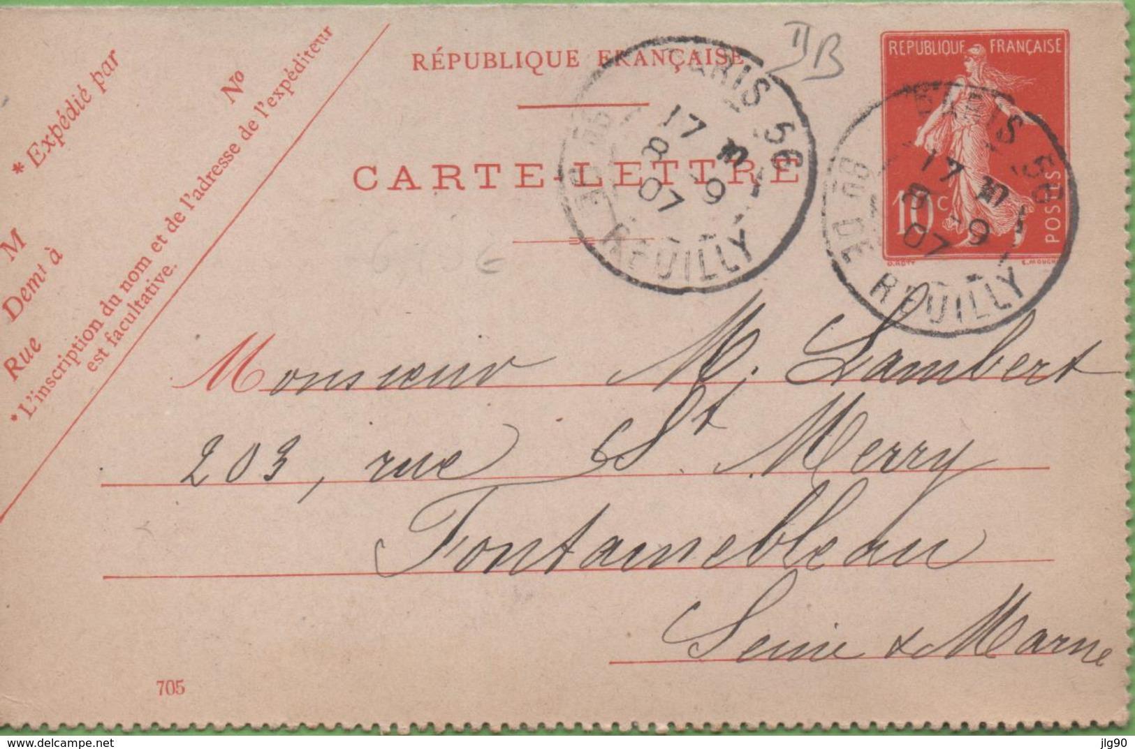Entier Type SEMEUSE Camée 10c Rouge  135-CL3 Date 705 PARIS-56 Pour FONTAINEBLEAU 8/09/07 - Postal Stamped Stationery