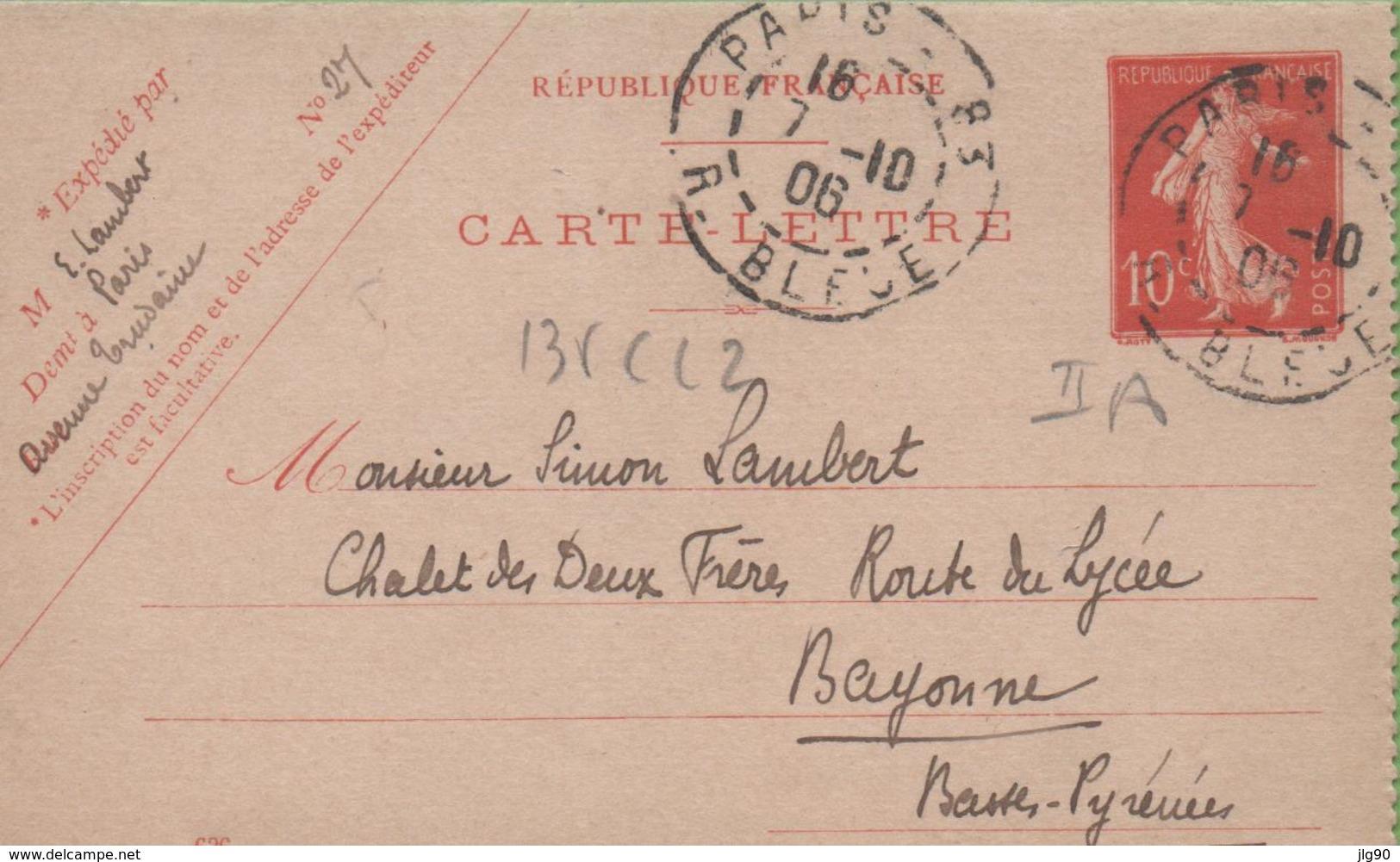 Entier Type SEMEUSE Camée 10c Rouge  135-CL2 Date 636 PARIS à BAYONNE 7/10/06 - Postal Stamped Stationery