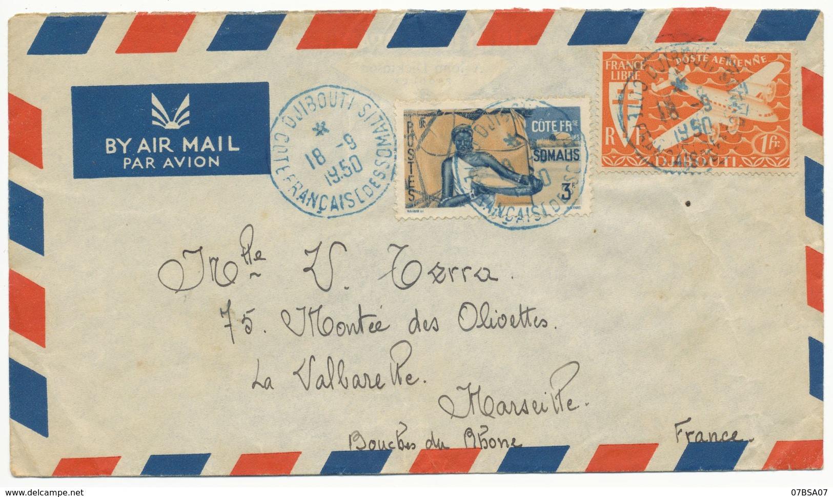 COTES FRANCAISES DES SOMALIS ENV 1950 DJIBOUTI LETTRE AVION - French Somali Coast (1894-1967)
