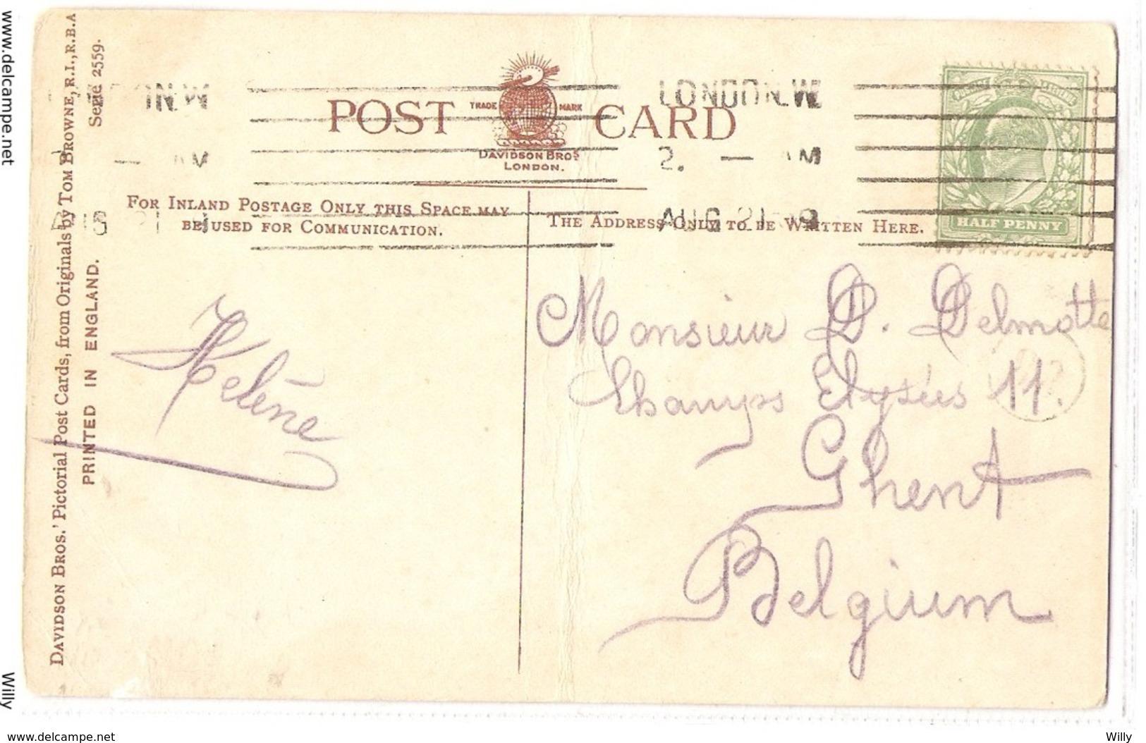 CPH 630 , OLD POSTCARD , HUMOR FANTASY , Signed - Museum