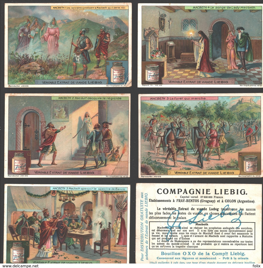 Liebig - Vintage Chromos - Series Of 6 / Série Complète - Macbeth - Français - Liebig