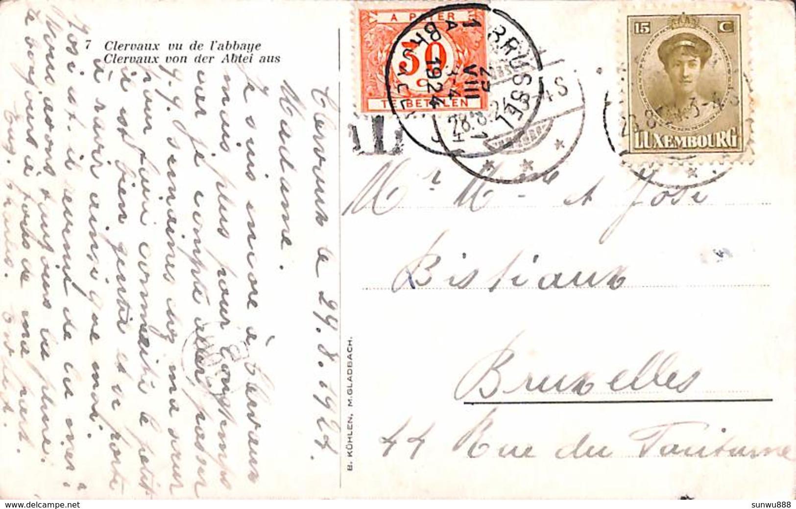Clervaux Vu De L'abbaye (1924, Timbre Taxe) - Clervaux