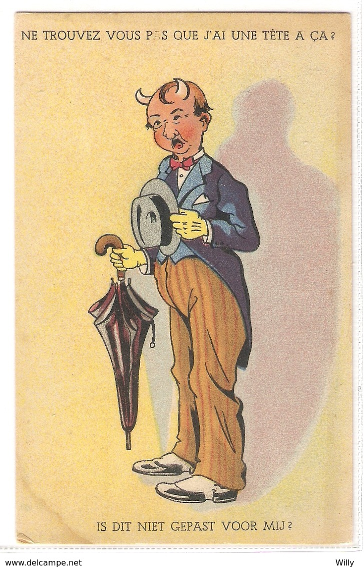 CPH 661 , OLD POSTCARD , HUMOR FANTASY , Signed - Humor