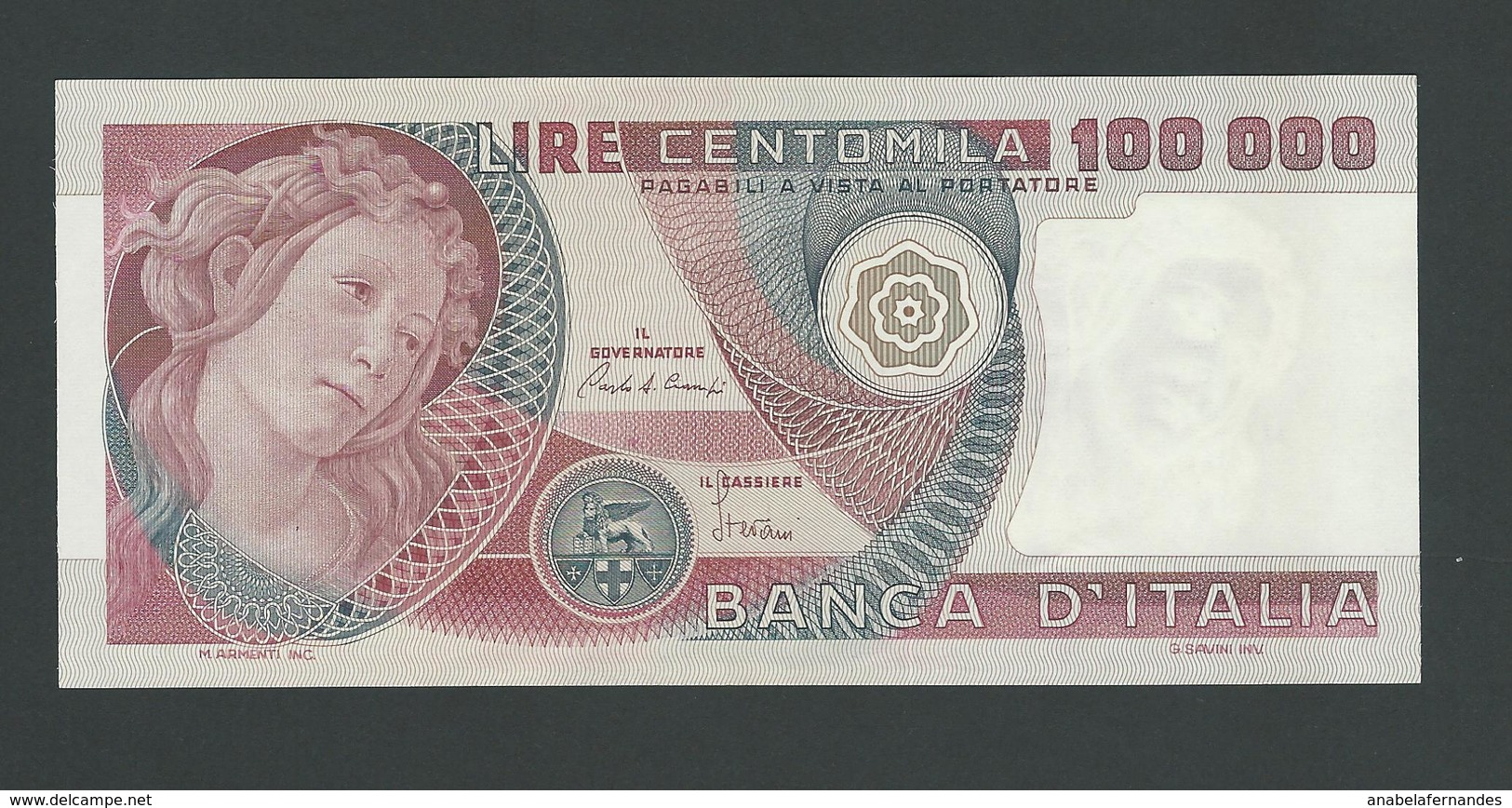 ITALY 100.000 100000 LIRE 1982 PIK- 108 Botticelli UNC - 100.000 Lire