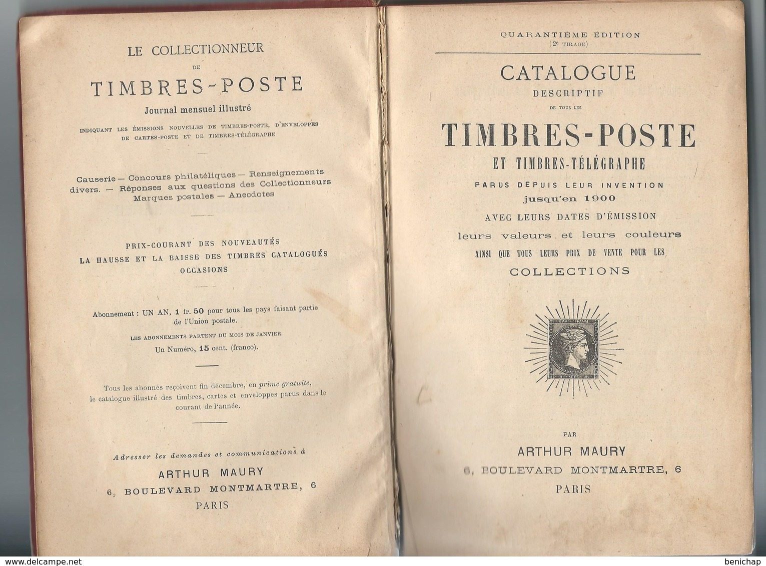 Catalogue Timbres-postes Arthur Maury - 40 ème Edition 1900. - France